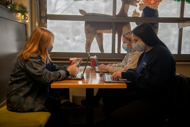 Linden Lehner, on her cell phone, and Maria Ferrato at her laptop work at Tree City Coffee. A study by a pair of Kent State University professors has shown homework alleviates boredom while social media browsing causes it.