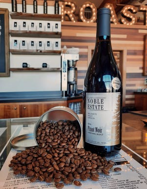 Noble Estate Winery's 2014 Pinot Noir Vineyard Select has been paired with Coffee Plant Roaster beans as part of its infused holiday series.