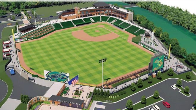 This is an artist's rendering of the new $34 million riverfront stadium being built for Beloit's minor league baseball franchise. PHOTO PROVIDED