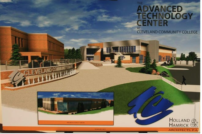 The artist's rendition shows what the new Advanced Technology Center at Cleveland Community College will look like.