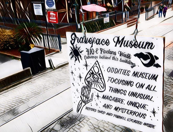 Graveface Museum is located at 410 E. Lower Factors Walk.