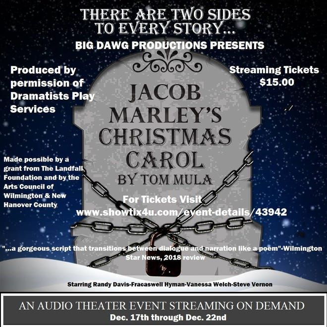 "Big Dawg Productions presents ""Jacob Marley's Christmas Carol"" by Tom Mula Dec. 17-22."