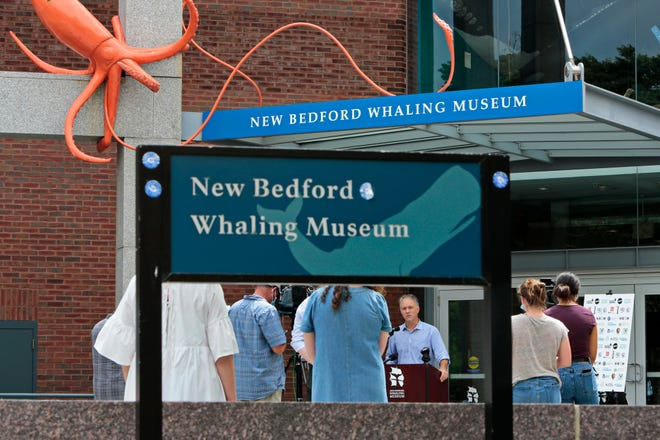 In this file photo, New Bedford mayor Jon Mitchell speaks outside the Whaling Museum.