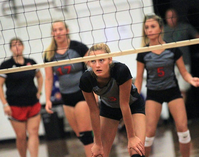 New Bern volleyball player Marlee Hanford, shown here during the 2019 season at the annual New Bern High School Volleyball Jamboree.