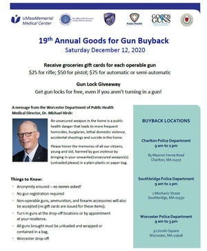 A poster for the 2020 Goods for Guns buyback program scheduled for Saturday in Worcester, Southbridge and Charlton.