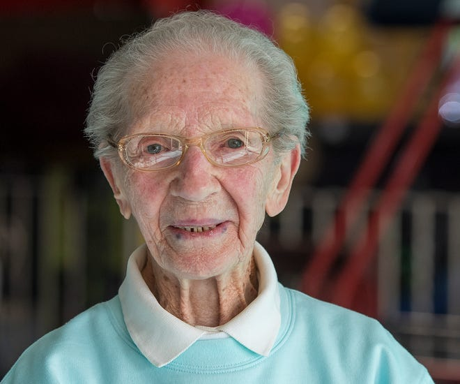 NORTHBRIDGE - Grace Burns celebrated turning 100 years old by bowling with her regular Wednesday morning league at Sparetime Recreation in Whitinsville December 9, 2020.