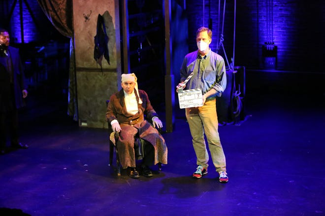 """Steve Gagliastro as Ebenezer Scrooge and film director John Stimpson during rehearsals for """"A Christmas Carol Reimagined."""""""