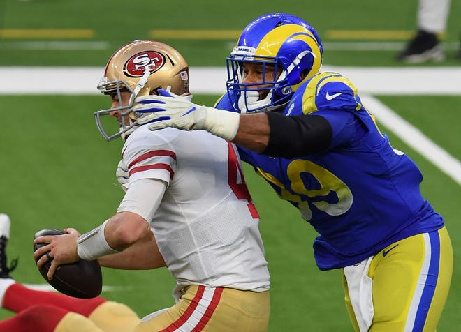 Los Angeles defensive tackle Aaron Donald, shown sacking San Francisco's Nick Mullens during a game last month, will be a big issue for the New England offensive line.