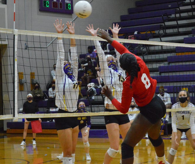 Seventy-First junior JaLena Pitt (8) racked up 16 kills to help the Falcons earn their first win against Jack Britt since 2012.