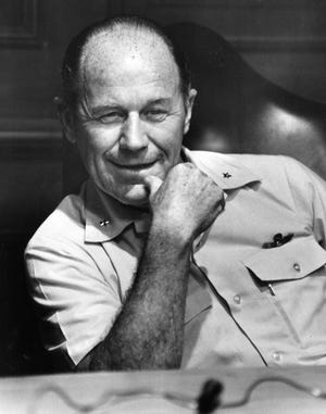 Brig. Gen. Chuck Yeager smiles during an interview with the Reporter-News in May 1973.