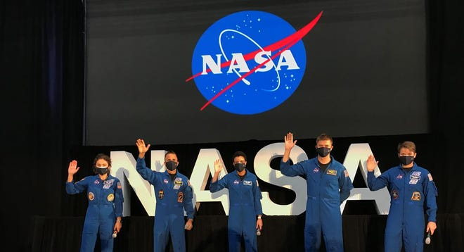 At Kennedy Space Center Wednesday, Vice President Mike Pence revealed the names of the 18 men and women chosen as astronauts for the Artemis moon program at. Five of those attended a ceremony (from left) Jessica Meir, Joseph Acaba, Jessica Watkins, Matthew Dominick and Anne McClain.
