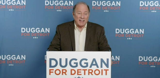 Detroit Mayor Mike Duggan announces his re-election bid on Wednesday, Dec. 9.