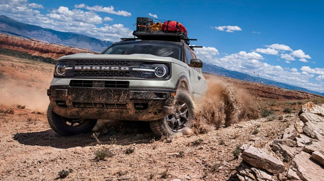 Yee-haw. The 2021 Ford Bronco Sport in action. The Badlands model has 8.8 inches of ride height.