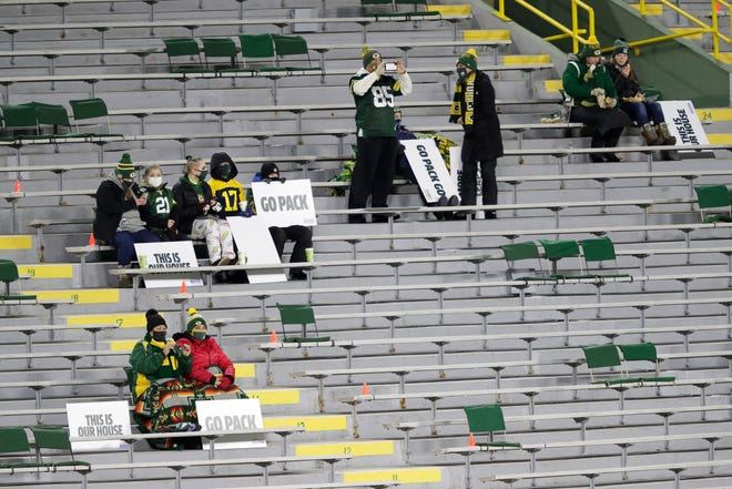 Green Bay Packers employees and their household family members were allowed to attend the Nov. 20 home game against the Chicago Bears at Lambeau Field in Green Bay. It was the first game at Lambeau Field where a very limited number of spectators to attend.