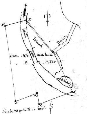 """This survey of the original Spottsville dam dates from 1844 when the Green & Barren River Navigation Co. was asking circuit court to condemn the 14.24 acres depicted """"for the use of water power, erection of a toll house & other necessary buildings,"""" according to a document filed on page 345 of Deed Book K in the Henderson County Clerk's Office. The owners were the heirs of Samuel Spotts, who were paid $200."""