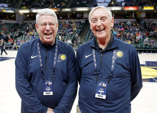 Indiana Pacers scoreboard operator Elliott Segal (left) with longtime Pacers official scorekeeper Bill Bevan (right).