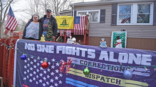 Michael Majors and Alicia Brumfield are proud of the seasonal tribute to first responders, nurses, safety forces, corrections officers and more.