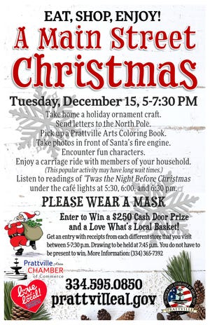 Prattville's A Main Street Christmas is Tuesday from 5-7:30 p.m.
