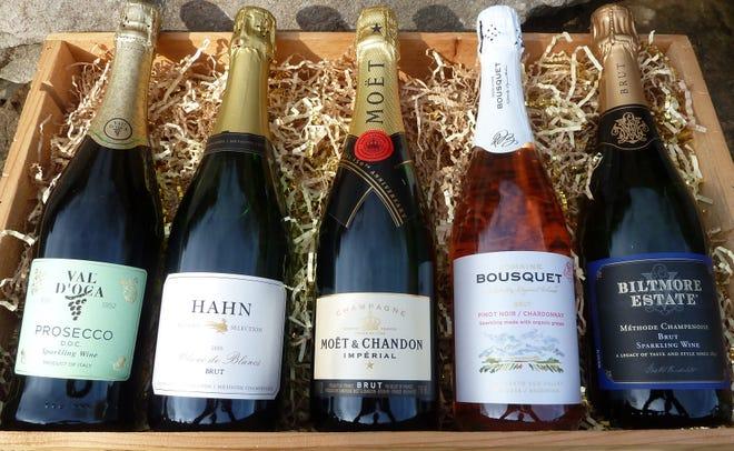 Val D'Oca Prosecco, Hahn Estate Blanc de Blancs, Moet & Chandon Brut Imperial, Domaine Bousquet Brut Rosé, Biltmore Estate Brut