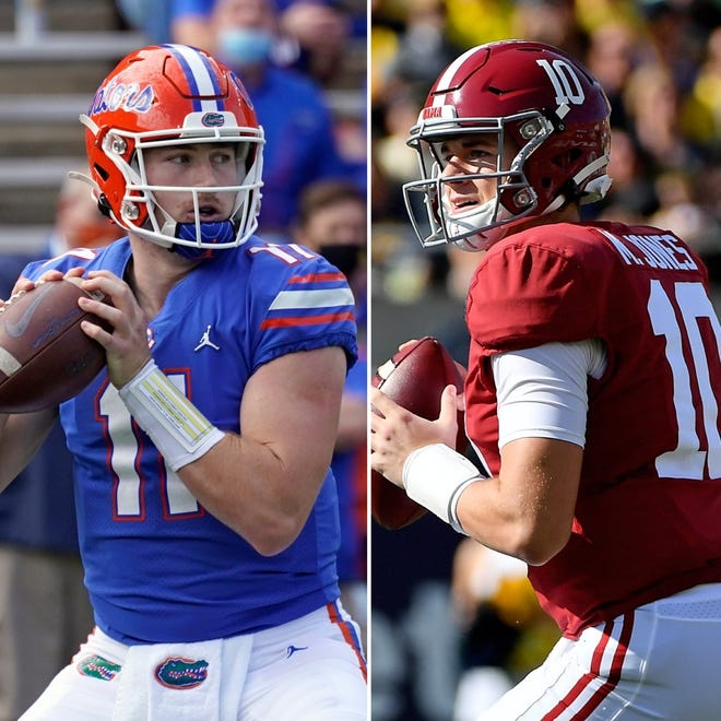 Florida quarterback Kyle Trask, left, and Alabama quarterback Mac Jones are the top candidates for the Heisman Trophy.
