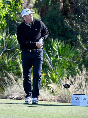Ryan Palmer watches his ball after teeing off on the 17th hole during the QBE Shootout Pro-Am at the Tiburón Golf Club in Naples on Wednesday, December 9, 2020.