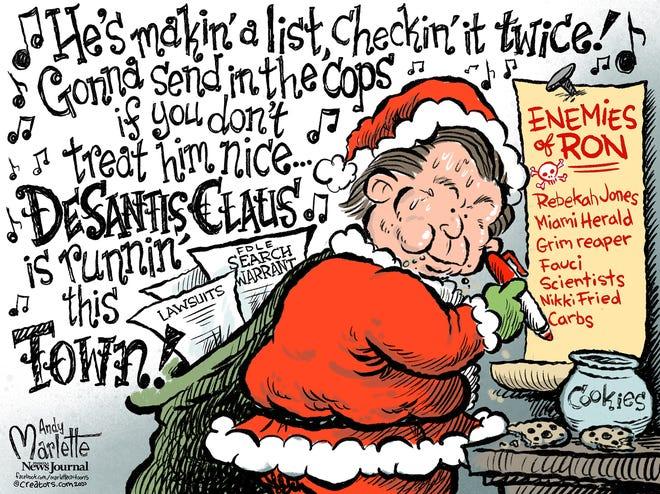 Marlette cartoon: DeSantis making his list...