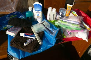 Hygiene kits for men and woman experiencing homelessness assembled and donated by Lisa Altenbernd of Phoenix to the Central Arizona Shelter Services in Phoenix on Dec. 9, 2020.