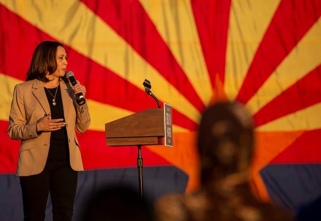 Crowd cheers as Sen. Kamala Harris takes the stage at Phoenix Municipal Stadium on Oct. 28 2020.