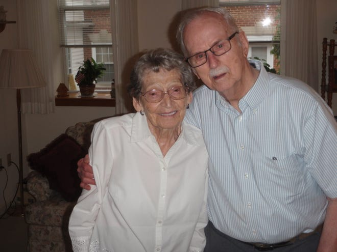 A recent photo of Vera and John Koser. The couple celebrates their 75th wedding anniversary on Dec. 13, 2020.