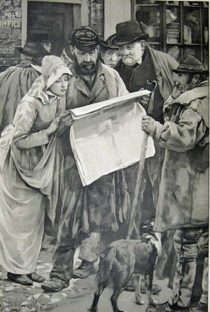 People reading a newspaper.