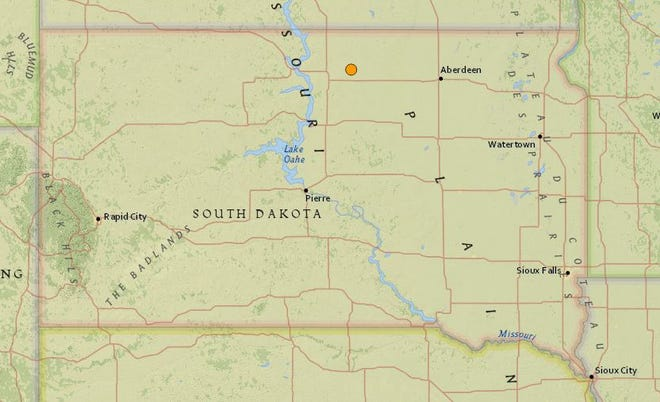An earthquake was reported in northern South Dakota on Tuesday night.