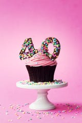Cupcake decorated with chocolate numbers