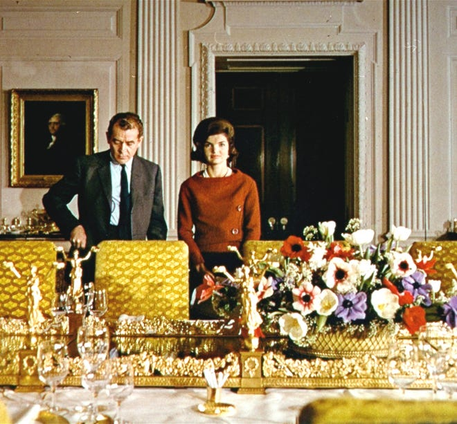 Jacqueline Kennedy is shown here with CBS reporter Charles Collingwood during her television tour of the White House in February 1962.