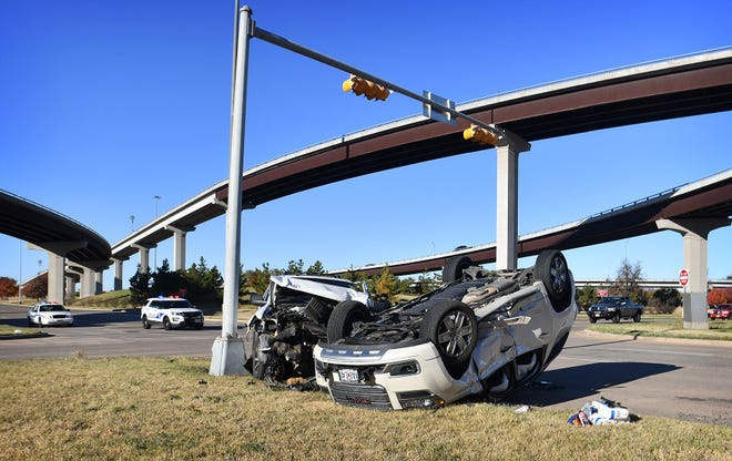 A two-vehicle rollover accident at Holliday Road and Kell East sent both drivers to the hospital Wednesday morniing.