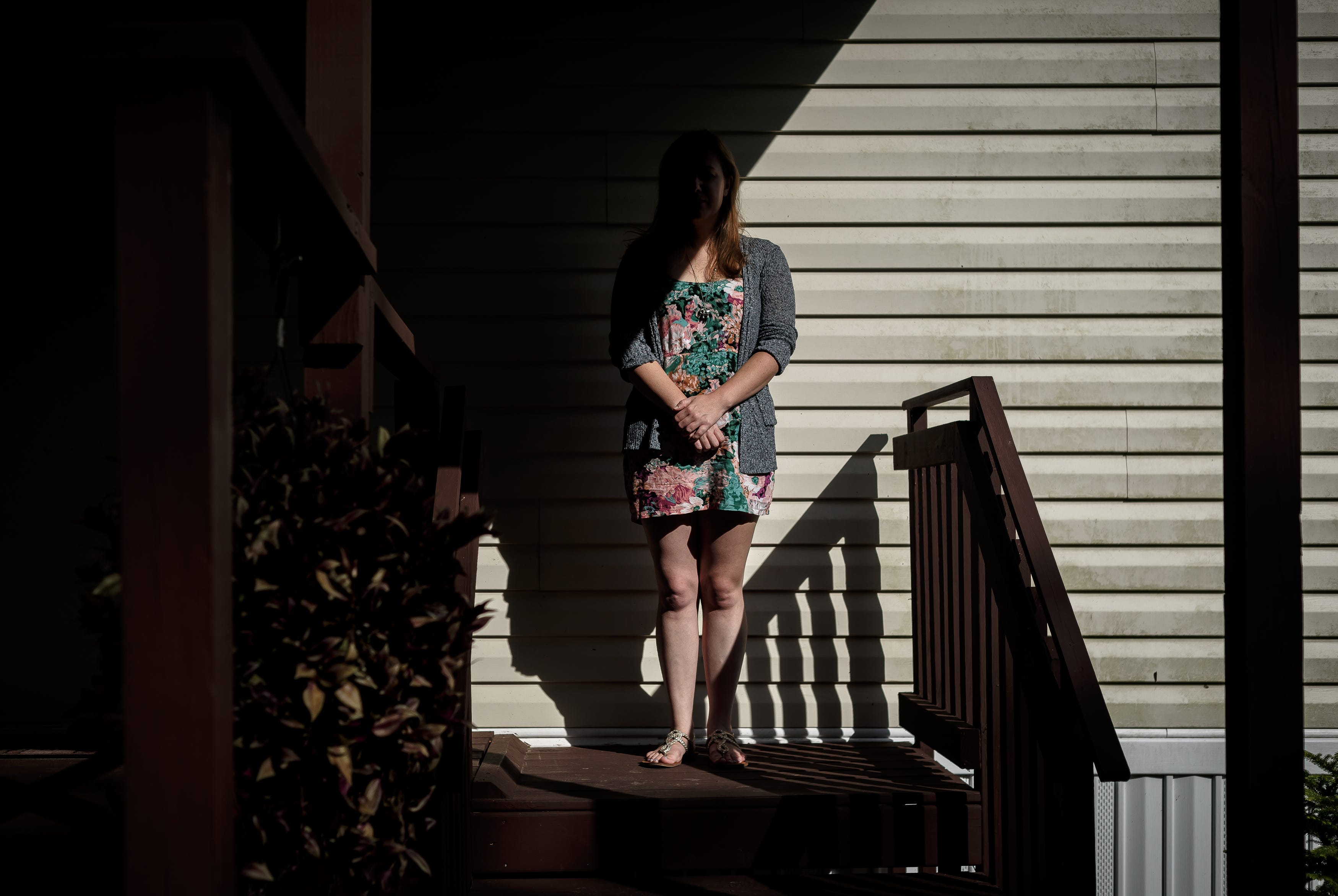 Leah Gunion, shown outside her home in New Smyrna Beach, Fla., didn't think she could get pregnant. The joy of her surprise pregnancy was overshadowed by grief when her soldier husband died by suicide.