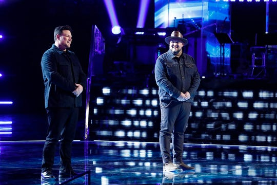 "Who moved on to the Top 5 on ""The Voice?"" Team Shelton's Ian Flanigan (left) and Jim Ranger."