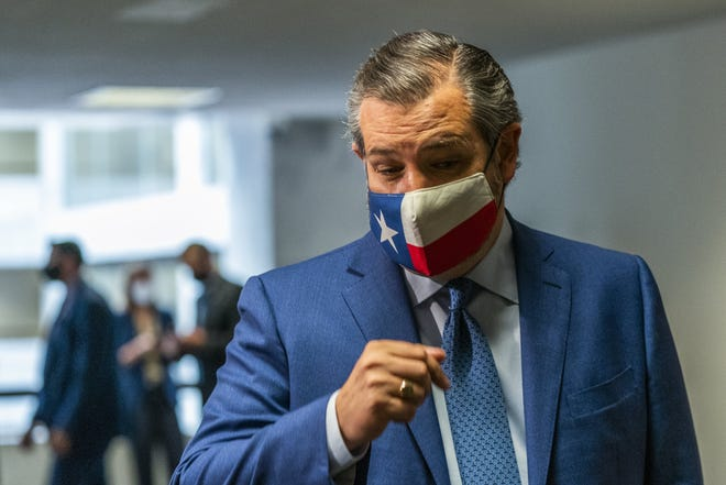 "U.S. Sen. Ted Cruz, R-Texas, called the latest medical guidance for vaccinated people to continue wearing masks ""anti-science."" That's Pants on Fire! [Manuel Balce Ceneta/The Associated Press]"