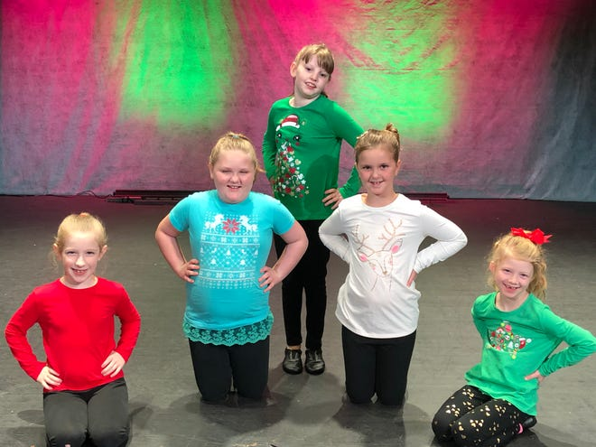 Shining Stars Dance Studio participants, from left, Miley Wengerd, Cyla Goines, Anita Schoener, Brooke Stewart and Scarlett Rinehart, will be among the performers in the Ohio Theatre Music and Laughter Christmas Extravaganza, which will be live-streamed this weekend.
