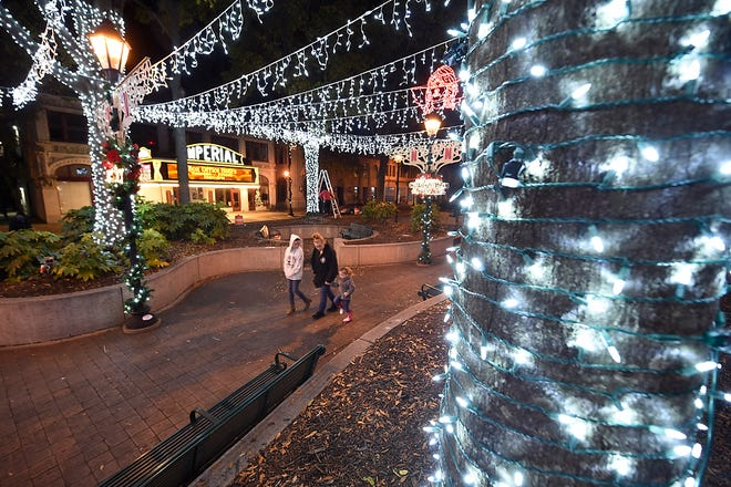 The new Christmas light display set up courtesy of Netflix in downtown Augusta, Ga., Wednesday December 9, 2020.