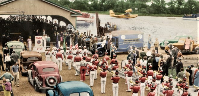 Spectators and marching band crowd Bristol Borough's wharf in 1938 to celebrate the lift-off of a Bristol-built seaplane inaugurating air mail service in the borough. (Courtesy Margaret R. Grundy Memorial Library)