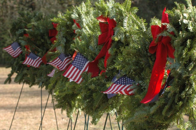 Balsam wreaths of green with red bows will adorn graves in Jasper and Beaufort counties Saturday and Sunday as part of the nationwide Wreaths Across America event.