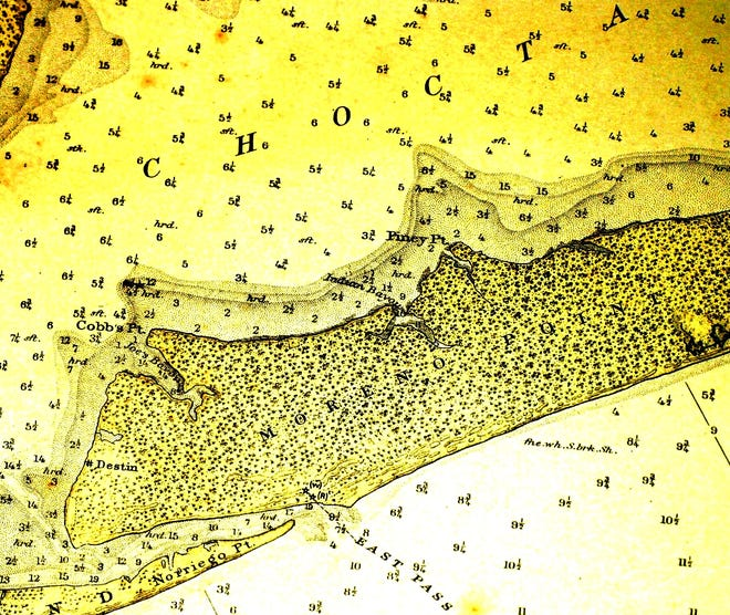 This is the 1916 nautical chart of East Pass and Moreno Point.