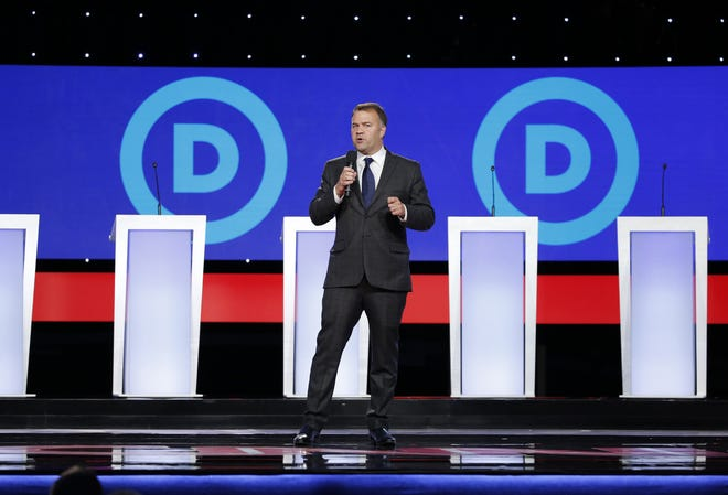 Ohio Democratic Chairman David Pepper speaks prior to his party's presidential debate at the Otterbein University Rike Center in Westerville in October 2019.