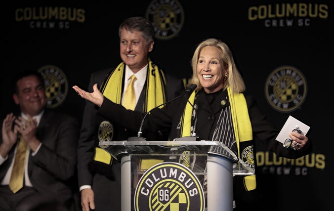 Crew co-owner Dee Haslam speaks at news conference in January 2019. Behind her is co-owner Dr. Pete Edwards.