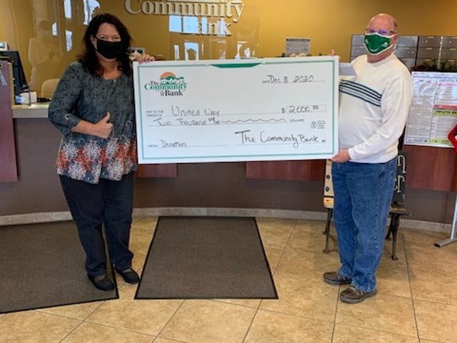 Dennis Doutt, from The Community Bank, and Marynell Townsend, Director of United Way, with The Community Banks annual donation to United Way.