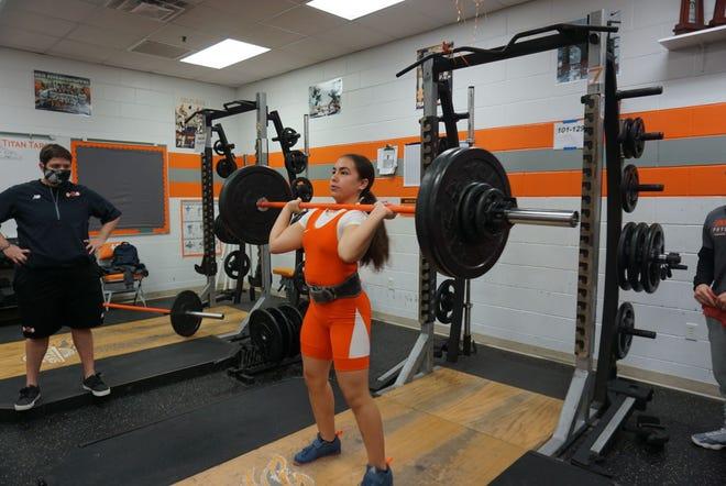 Azariah Rodriguez of University had a 250-pound lift total in a Dec. 9, 2020, meet against DeLand. the Titans won, 61-27.