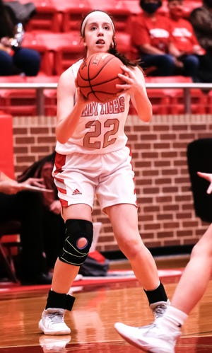 Glen Rose's Sam Ellenberger squares up for a shot on Tuesday night in the Lady Tigers' win over Eastland.