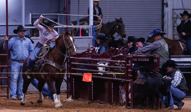 Sammy Taylor competes at the Las Vegas Stars Roping Competition at the Somervell County Expo Center on Sunday. Competition as well as a Western wear expo and art expo will continue through Dec. 13.