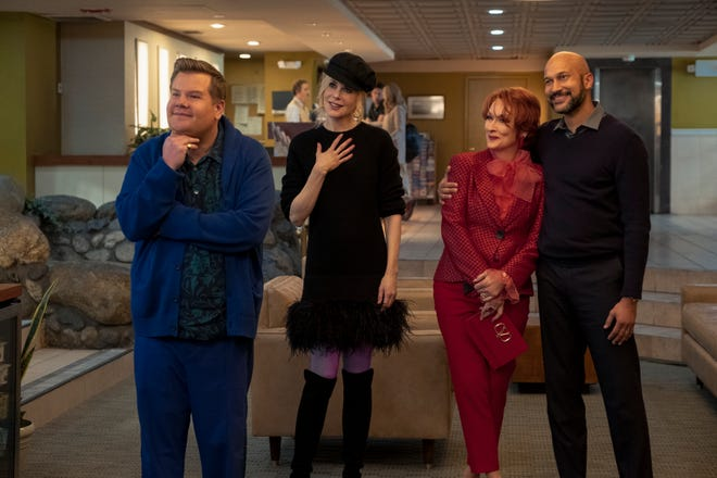 """This image released by Netflix shows, from left, James Corden, Nicole Kidman, Meryl Streep and Keegan-Michael Key in a scene from """"The Prom."""""""