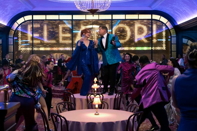 """This image released by Netflix shows, Meryl Streep, center left, and James Corden in a scene from """"The Prom."""""""